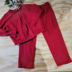 Hearts of Palm Red Sweat Suit Outfit